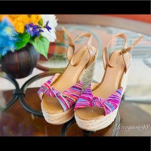 NEW Xhilaration multicolor platform wedge sandals